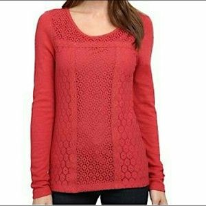Lucky Brand vermilion / coral lace boho sweater, S